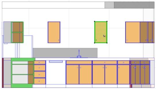 3.5.1 典型用法 在一个室内立面(IE)中编辑模型 · 布置厨房的家具和设备,并设置其属性(颜色、面把、类型、把手等) · 在(同一个或不同房间的)不同的IE视图之间对齐固定设备 3.5.2 用户收益 无需重复:使用IE视点即可排布IE视图。所有模型视图的特性对IE视图同样适用,包括虚拟跟踪。 专门的室内立面工具可以用来创建室内立面。不需要再做虚拟的独立详图,然后把IE内容复制-粘贴到里面。 所有普通的模型视图的特性对IE视图同样适用:放置标记来定义视点、定义视图、通过标